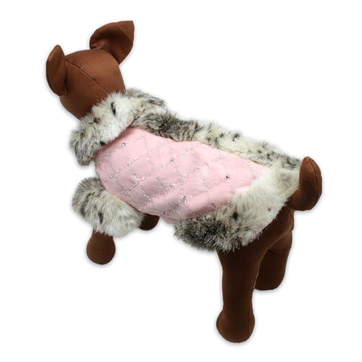 犬服のレオパードフェイクファー コート